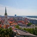 View of Bratislava city from Bratislava castle — Stock Photo #27697155