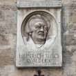 Stock Photo: Memorial plaque of Heinrich Suso Waldeck in Vienna, Austria