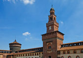 Towers of Sforza Castle (XV c.). Milan, Italy — Stock Photo