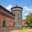 Corner tower of Sforza Castle (XV c.). Milan, Italy — Stock Photo