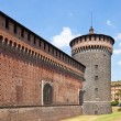 Corner tower of Sforza Castle (XV c.). Milan, Italy — Foto de Stock