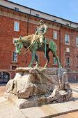 Equestrian statue (1916) of Giuseppe Missori. Milan. Italy — Stock Photo