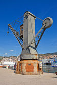 Hydraulic crane (1888). Old Port, Genoa, Italy — Stock Photo