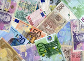 Euro and Czech banknotes (crona) background — Stock Photo