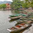 Traditional flat bottomed boats in Van Lam village, Vietnam — Stock Photo #39377221