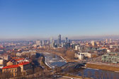 Neris river and business district Snipiskes. Vilnius, Lithuania — Stock Photo