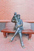 Sculpture of skipper with a monkey in Kaliningrad, Russia.  — 图库照片