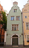 Green Brother house (XVII c.) of Three Brothers complex in Riga — Stock Photo