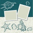 Vintage background with old postcards and seashells. — Stock Vector #11794563
