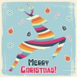 Vector Christmas background with jumping stylized deer. — Stock Vector #12541578