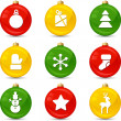 Set of Christmas icons on collor balls. Vector illustration. — Stockvectorbeeld