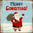 Vector Christmas background with Santa holding big bag of gifts. — Stock Vector