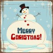 Vector Christmas background with a large snowman. — Stock Vector