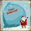 Vector Christmas background with Santa holding big bag of gifts. — Stock Vector #12541570