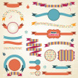 Set of retro ribbons and labels with Christmas decorations. - Stock Vector