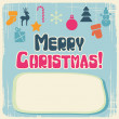 Vector Christmas background with retro cute icons. — Stock Vector