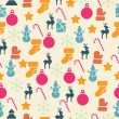 Stock Vector: Vector seamless pattern with retro Christmas icons.