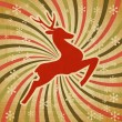 Vector Christmas background with jumping stylized deer. — Stock Vector