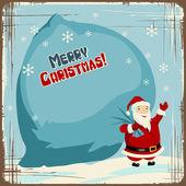 векторные рождественские фоны с санта проведения большой мешок подарков. — Cтоковый вектор