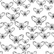 Seamless black and white vector pattern with butterflies — Stock Vector