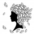 Vector silhouette of beautiful woman with Hairstyles. — Stock Vector