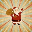Vector Christmas background with Santa holding big bag of gifts. — Grafika wektorowa