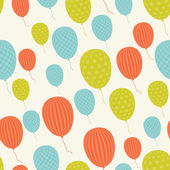 Vector seamless in retro style pattern, flying balloons. — Stock Vector