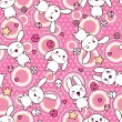 Seamless pattern with doodle. Vector kawaii illustration. - Stok Vektör