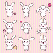 Collection of funny and cute happy kawaii rabbits. — Stock Vector #12711572