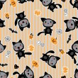 Kawaii background of Halloween-related objects and creatures. — Image vectorielle