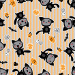 Kawaii background of Halloween-related objects and creatures. - Stockvectorbeeld