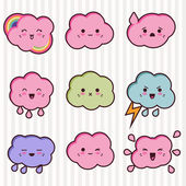 Collection of funny and cute happy kawaii clouds. — Stock Vector