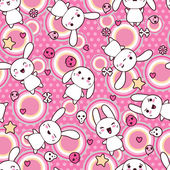 Seamless pattern with doodle. Vector kawaii illustration. — Stok Vektör