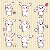 Collection of funny and cute happy kawaii rabbits. — Stock Vector