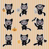 Kawaii collection of Halloween-related objects and creatures. — Stock Vector