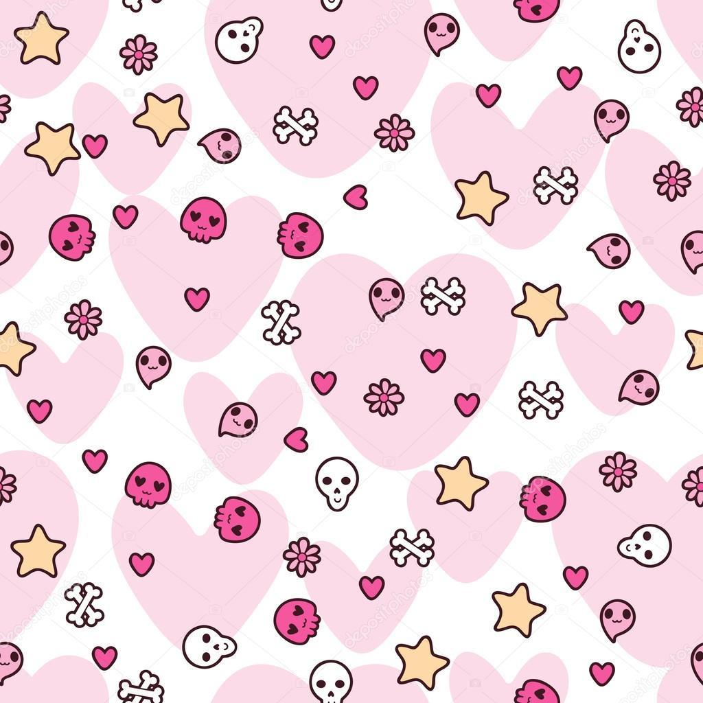 Seamless pattern with doodle. Vector kawaii illustration.  Imagens vectoriais em stock #12711541