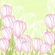 Spring floral background with pink tulips. Vector card. — Stock Vector