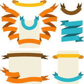 Set van retro linten en labels. vectorillustratie. — Stockvector