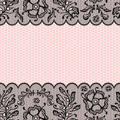 Vintage lace frame, ornamental flowers. Vector texture. — Stock Vector