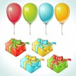 Set of colorful balloons and gifts with details. — Stock Vector