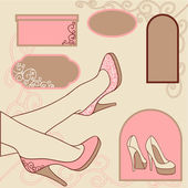 Vector illustration. Fashion background with feminine shoe. — Stock Vector