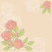 Sfondo floreale con rose in tonalità pastello — Vettoriale Stock