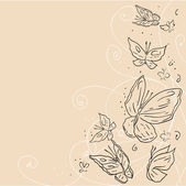 Main dessiner butterfly grunge. abstract vector background. — Vecteur