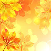Autumn background with yellow leaves. Vector illustration. — Stock Vector