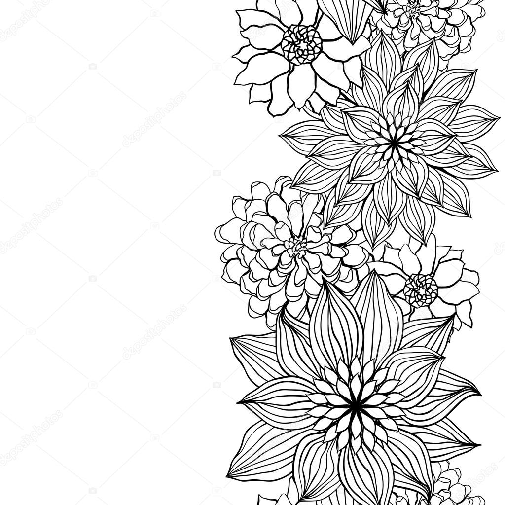 Abstract Line Drawing Flowers : Abstract floral background vector flower element for