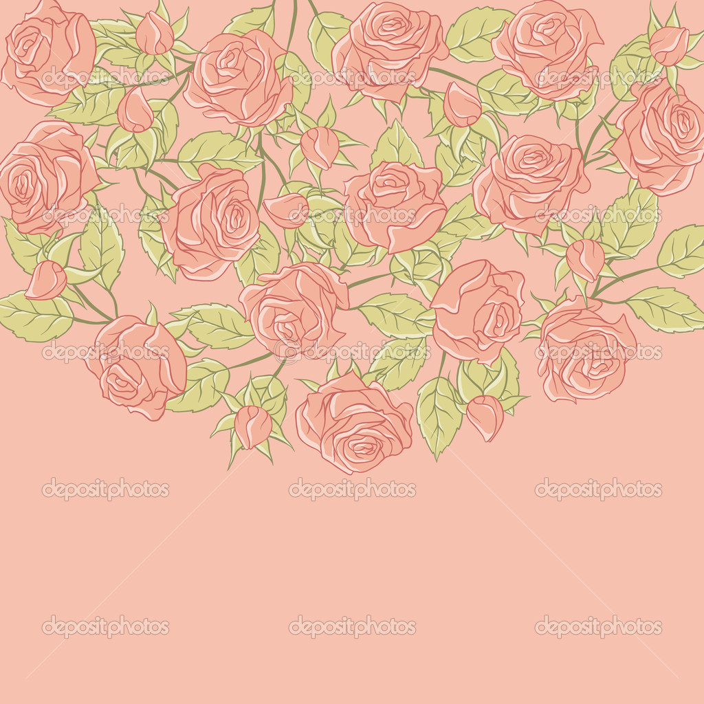Roses Floral Background Floral Background With Rose in