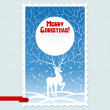 Vector Christmas card with white stylized deer. - Stock Vector
