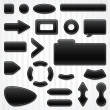 Set of icons, buttons and menus for websites in black. - Stock Vector