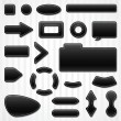 Stock Vector: Set of icons, buttons and menus for websites in black.