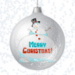 Vector Merry Christmas card with brilliant glossy ball. — Stock Vector